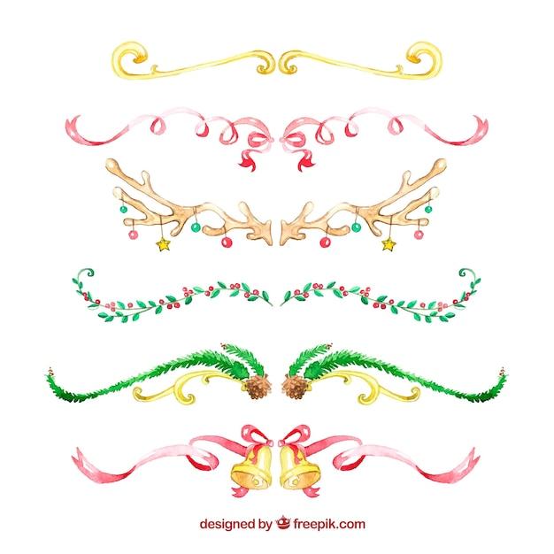 Conjunto de fitas de natal de aquarela Vetor grátis