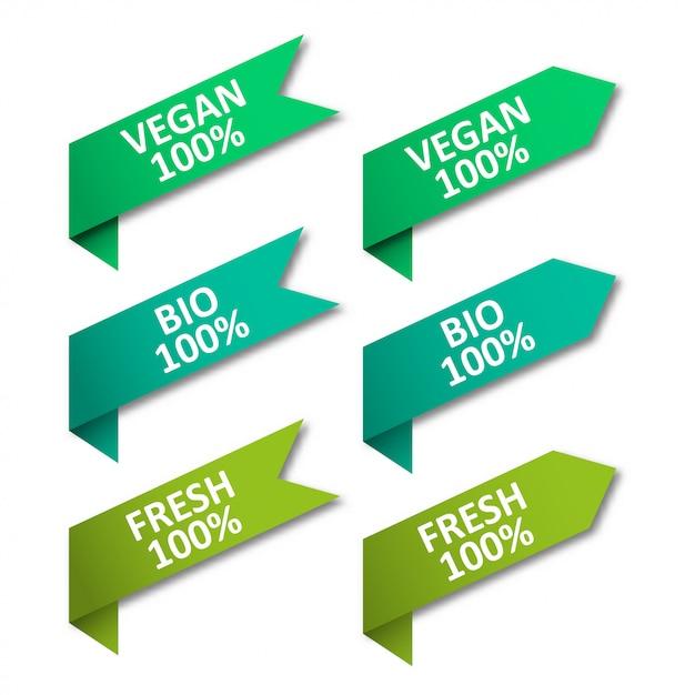 Conjunto de fitas de tags. vegan, bio, fresco Vetor Premium