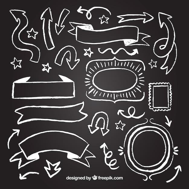 Conjunto de fitas, quadros e setas em estilo quadro-negro Vetor grátis