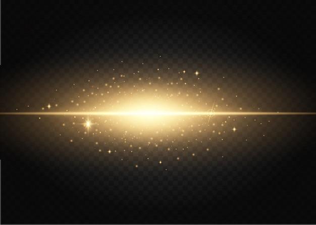 Conjunto de flashes, luzes e faíscas. efeitos das luzes douradas isolados em um. Vetor Premium