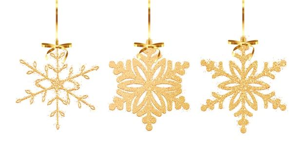 Conjunto de floco de neve de textura de glitter dourados isolado no fundo branco. ilustração Vetor Premium