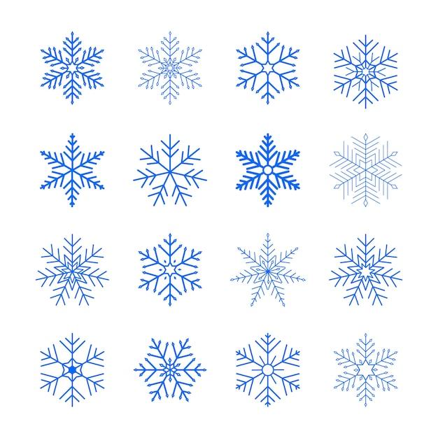 Conjunto de flocos de neve azuis. ícones de neve plana. ornamento de ano novo. Vetor Premium