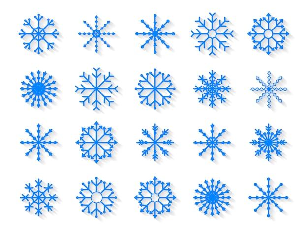 Conjunto de flocos de neve isolado no fundo branco Vetor Premium