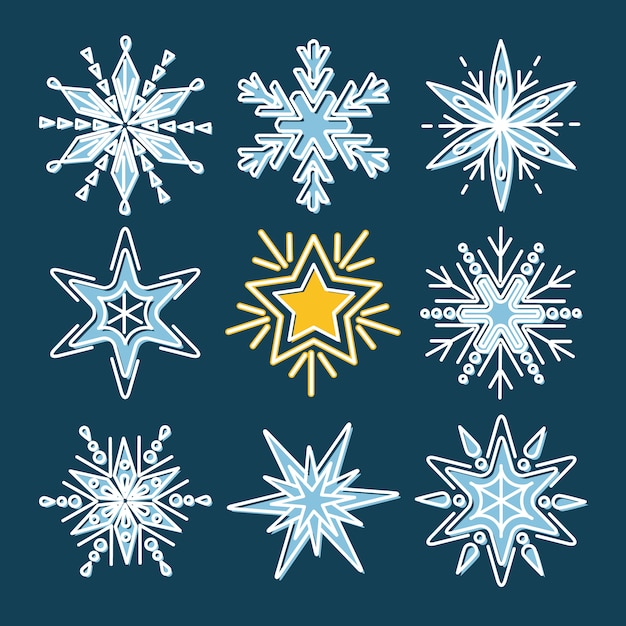 Conjunto de flocos de neve no estilo de linha Vetor Premium
