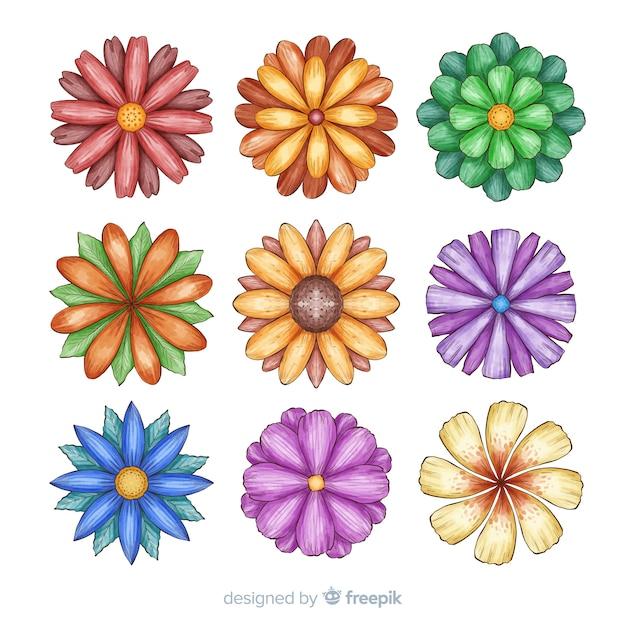 Conjunto de flor aquarela mão desenhada Vetor grátis