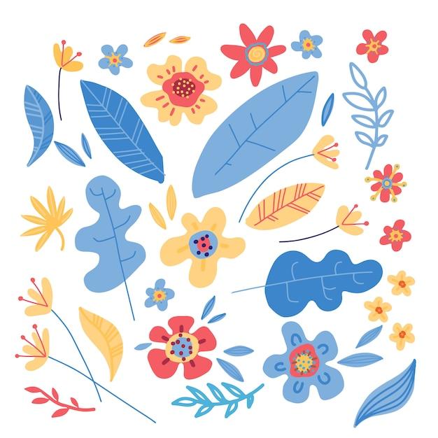 Conjunto de flores coloridas minimalistas simples Vetor Premium