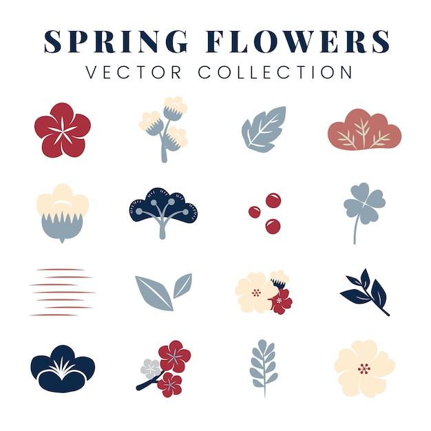 Conjunto de flores coloridas Vetor grátis