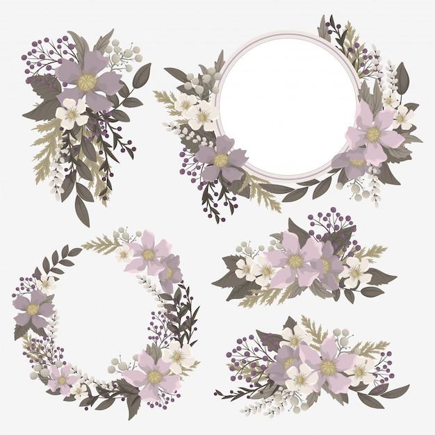 Conjunto de flores de clip-art roxo Vetor Premium