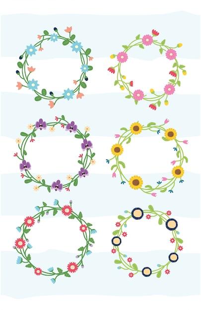 Conjunto de flores de grinalda floral de quadro de flores com ilustração em branco Vetor grátis