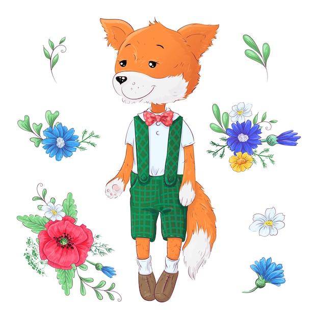 Conjunto de flores de raposa. Vetor Premium
