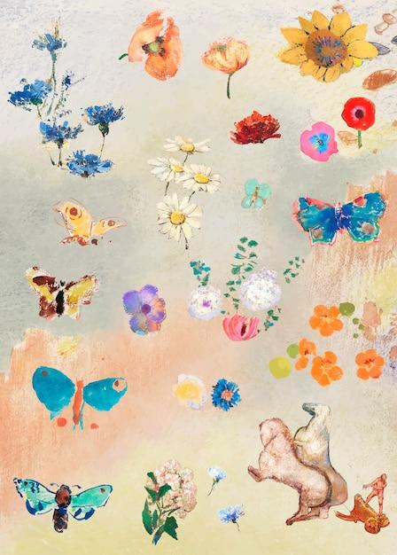 Conjunto de flores de tinta a óleo Vetor grátis