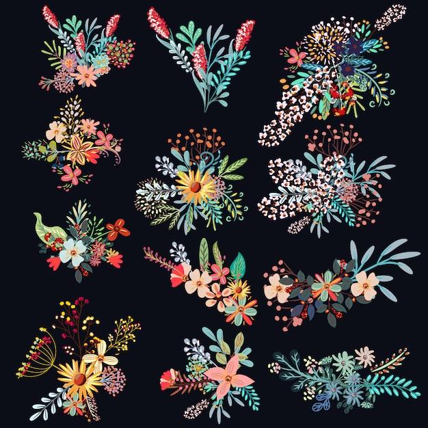 Conjunto de flores decorativas Vetor grátis
