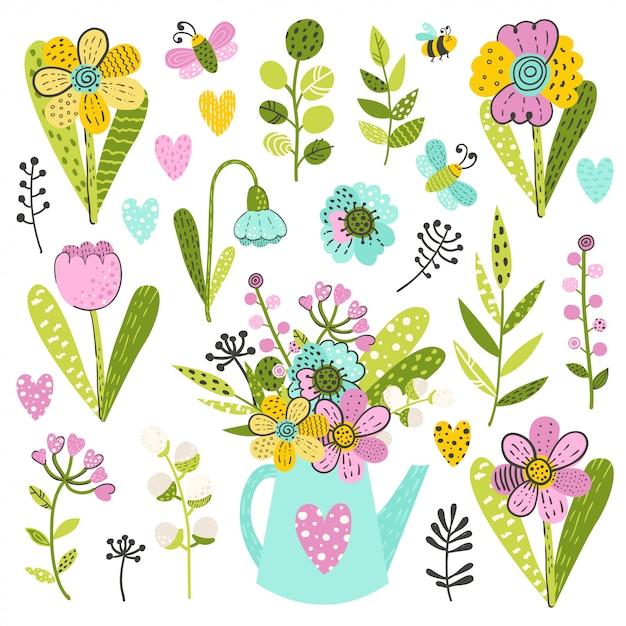 Conjunto de flores e ervas coloridas Vetor Premium