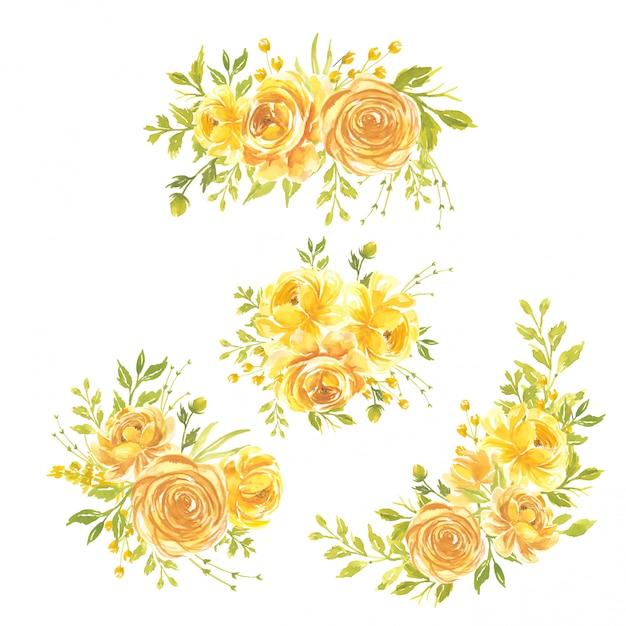 Conjunto de flores em aquarela pintados à mão ilustração floral buquê de flores rosa amarela Vetor Premium