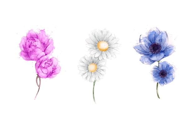 Conjunto de flores em aquarela primavera Vetor grátis