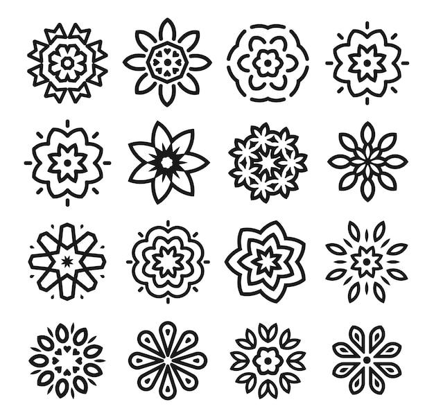 Conjunto de flores lineares. coleção de arte monocromática linha simples. elemento de design decorativo de florista. Vetor Premium