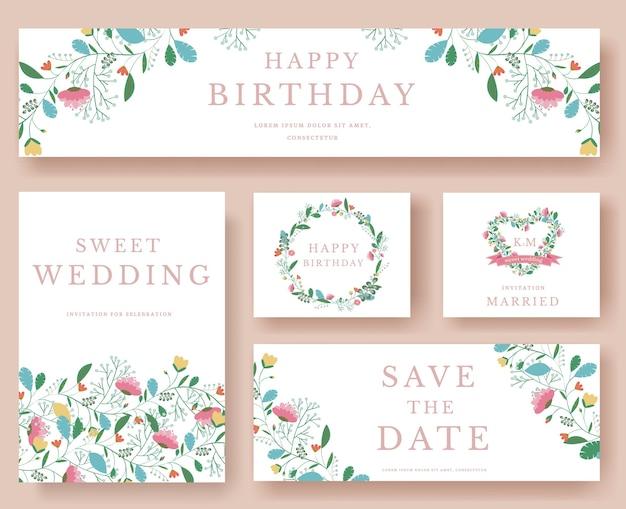 Conjunto de flores para casamento e enfeite de aniversário Vetor Premium