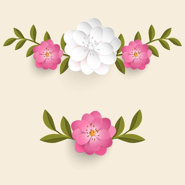 Conjunto de flores realistas com folhas Vetor grátis
