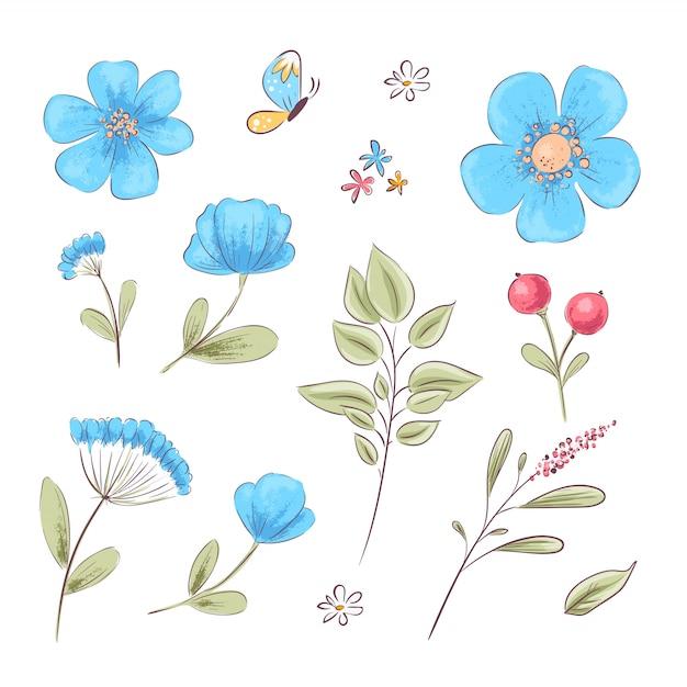 Conjunto de flores silvestres e borboletas. desenho à mão. ilustração vetorial Vetor Premium