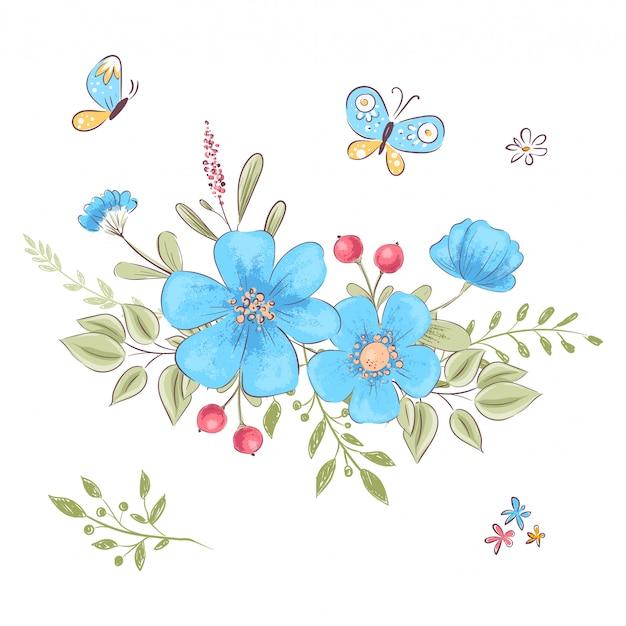 Conjunto de flores silvestres e borboletas. desenho à mão. Vetor Premium