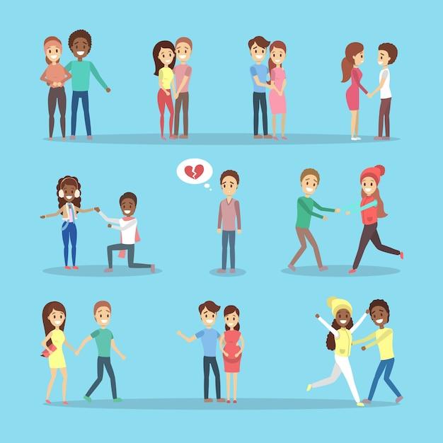Conjunto de fofos casais românticos apaixonados. pessoas felizes se abraçam. homem solitário com o coração partido. Vetor Premium