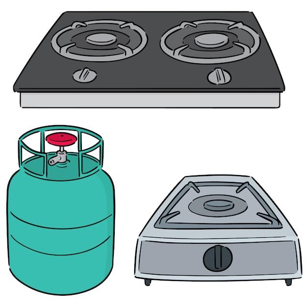 Conjunto de fogão a gás Vetor Premium