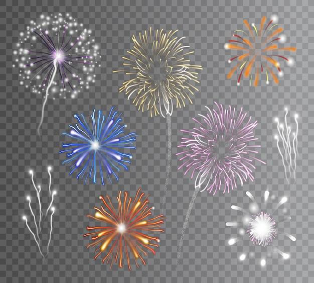 Conjunto de fogos de artifício transparente Vetor grátis
