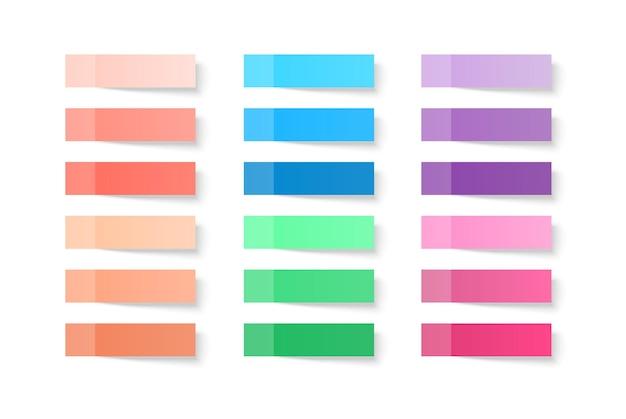 Conjunto de folhas coloridas de papéis de nota isolado com sombra real no fundo branco. Vetor Premium