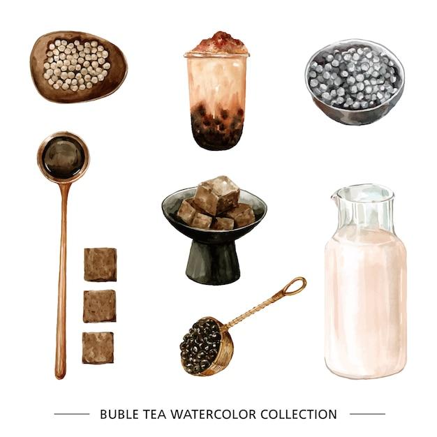 Conjunto de folhas de chá em aquarela, chá de bolhas Vetor grátis