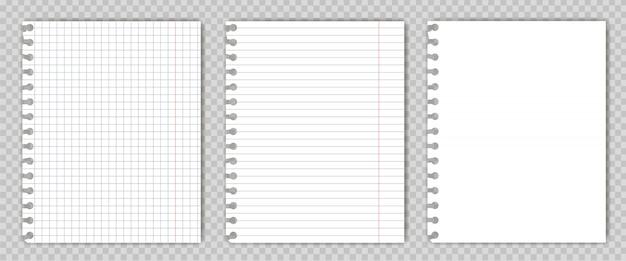 Conjunto de folhas de livro de cópia em branco com bordas rasgadas. Vetor Premium