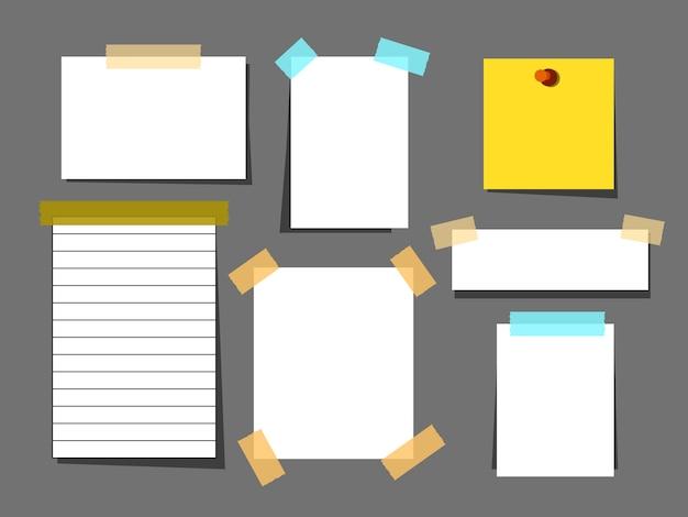 Conjunto de folhas de papel branco com fita adesiva Vetor Premium