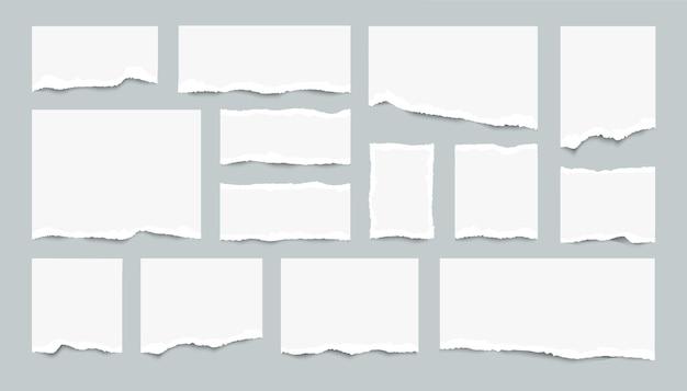 Conjunto de folhas de papel rasgadas. pedaços realistas de páginas brancas rasgadas. Vetor Premium