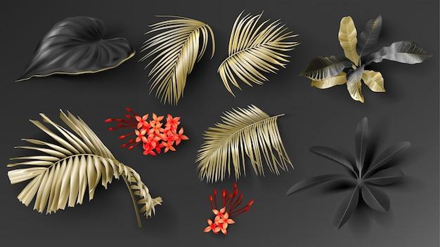 Conjunto de folhas de preto e ouro tropicais Vetor Premium