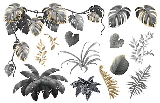 Conjunto de folhas e plantas escuras, ouro e prata. Vetor Premium