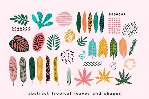 Conjunto de folhas tropicais abstratas Vetor Premium
