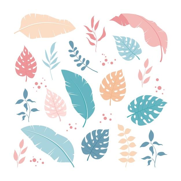 Conjunto de folhas tropicais e elementos florais simples e modernos Vetor Premium