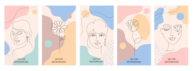 Conjunto de folhetos de mulher Vetor Premium
