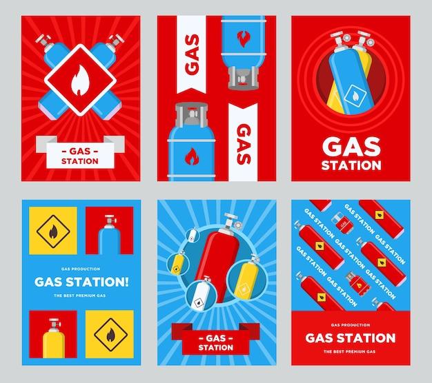 Conjunto de folhetos de posto de gasolina. cilindros e balões com ilustrações vetoriais de sinais inflamáveis com texto publicitário. modelos para cartazes ou banners de postos de gasolina Vetor grátis