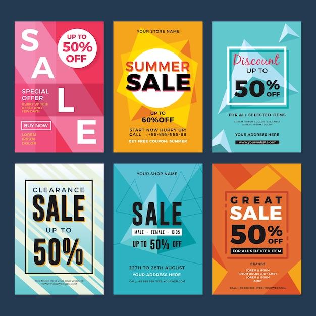 Conjunto de folhetos de venda e desconto Vetor Premium