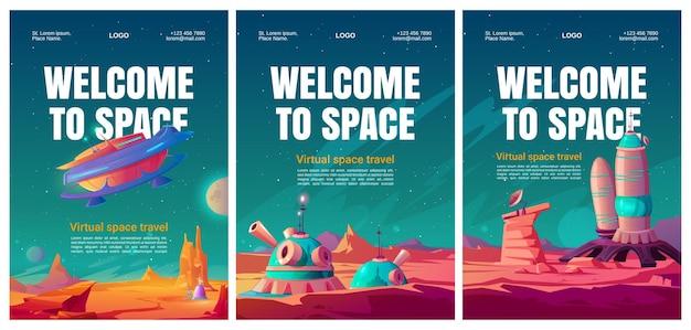 Conjunto de folhetos de viagens espaciais virtuais. Vetor grátis