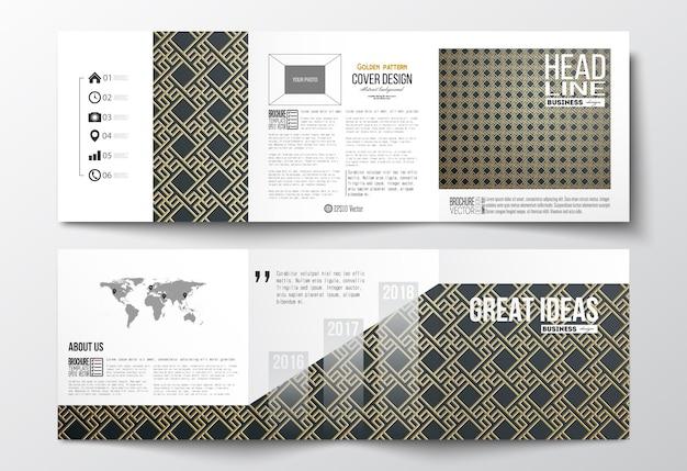 Conjunto de folhetos dobráveis em três partes, modelos de design quadrado. padrão de ouro islâmico Vetor Premium