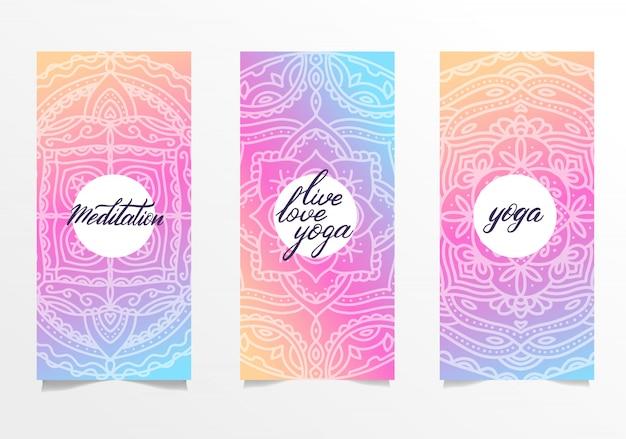 Conjunto de folhetos para o estúdio de yoga com mandala colorida Vetor Premium