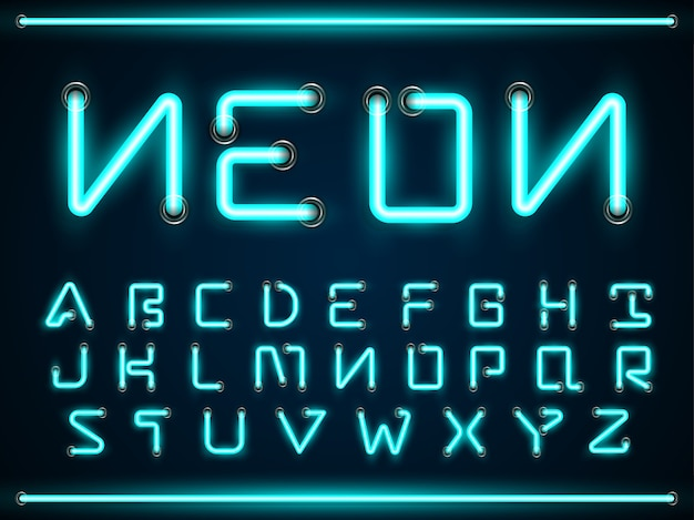 Conjunto de fontes brilhantes de luz de néon azul, símbolos de texto alfabeto az Vetor Premium