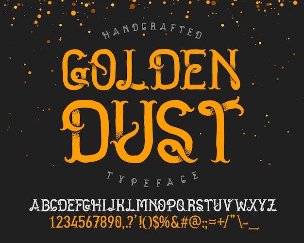 Conjunto de fontes de poeira dourada Vetor grátis