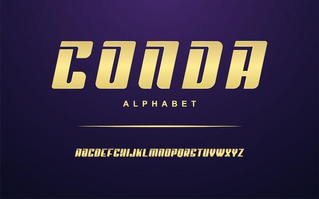 Conjunto de fontes do alfabeto moderno dourado elegante Vetor Premium