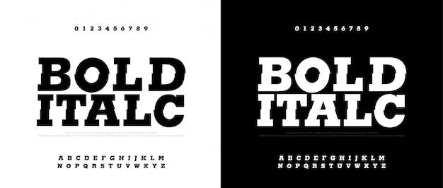 Conjunto de fontes tipografia negrito itálico. fontes modernas em negrito Vetor Premium