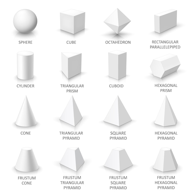Conjunto de formas 3d básicas, sólidos geométricos brancos sobre um fundo branco Vetor Premium