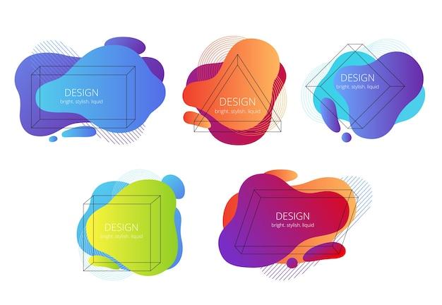Conjunto de formas abstratas de líquido com quadros geométricos. tendências de banners brilhantes com elementos de memphis. Vetor Premium