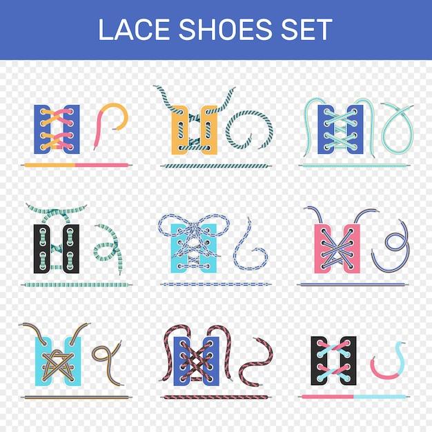 Conjunto de formas de cadarço de sapato Vetor grátis