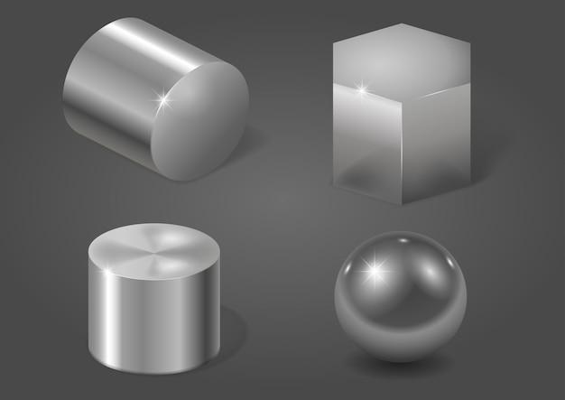 Conjunto de formas de metal Vetor Premium